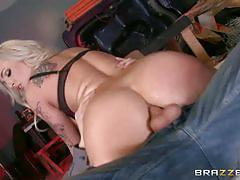 Hot blonde gets banged hard
