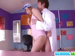 Horny asian schoolgirl gets her tight pussy fucked
