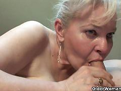 Filthy granny showered with cum