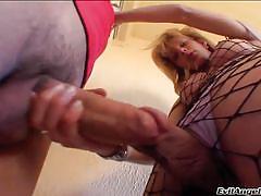 Rubbing cocks with a wild tranny @ monster cock she-male