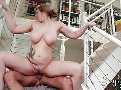 Ashley sucks cock on the stairs
