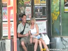 Naughty blonde babe gets fucked at the bus stop