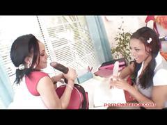 Ebony lesbos miss brazil & shyla haze hot action.