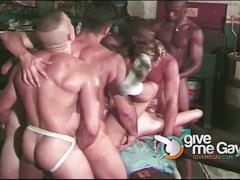 Butt-banging orgy with 6 ripped studs starts now!