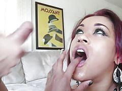 Punk slut jizzed on her face and hair