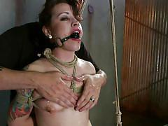 babe, redhead, tattooed, choking, ball gagged, rope bondage, candle wax, sadistic rope, kink, elizabeth thorn
