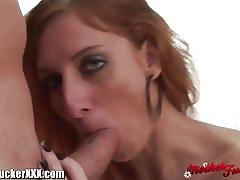Skinny redhead milf gets her cunt drilled