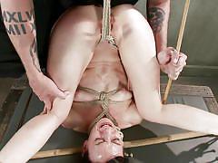 sadism, crying, brunette, shaved vagina, executor, rope bondage, sadistic rope, kink, elise graves