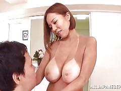 Huge boobs asian babe with tanlines