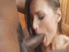 Huge black fat cock for young white chick's pussy.