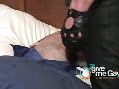 Bondage daddy gets mouth fucked