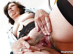 Hairy pussy nurse gapes herself