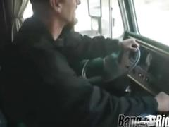 Blonde girl enjoys having sex in a van