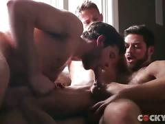 Hunky threesome by the window