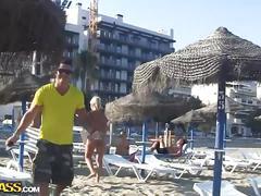 Amateur spanish slut gets banged hard on the beach