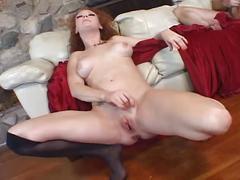 Sexy redhead audrey hollander gets triple cock action hot treat