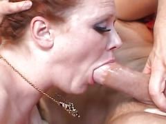 Sexy redhead audrey hollander gets triple cock action hot treat