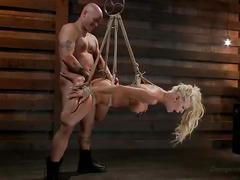 Gorgeous blonde slave gets banged very hard