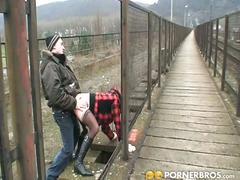 Slutty brunette gets banged outdoors