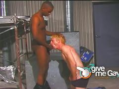 Blonde bottom takes big black cock