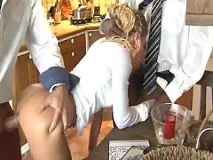 Blonde fucked by 2 huge cocks and facialed