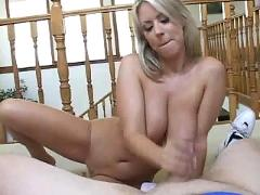 Blonde awesome handjob