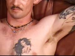 Hunky daddy wanks out his hard cock