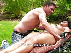 massage, big tits, babe, round ass, outdoor, blowjob, oiled, brunette, masseur, pussy rubbing, dirty masseur, brazzers network, toni ribas, rose monroe