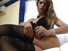 Cute young shemale auditions for porn by jerking cock