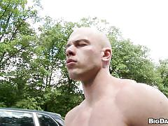 outdoor, street, blowjob, exhibition, public sex, bald, gay sex, car, hunk, muscled body, out in public, big daddy, franc zambo, just angelo