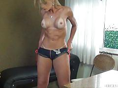 Tattooed blonde tranny beats off