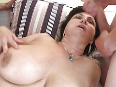 milf, threesome, big tits, mature, stockings, blowjob, cougar, brunette, mature nl, violette v.