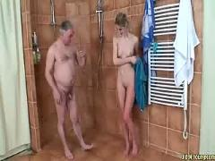 Old coach fucks teen gymnast in shower