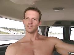 Anal whacking in public as horny amateur stud rides bait van