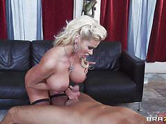 Gorgeous blonde milf with huge boobs fucking