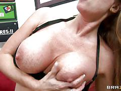 Brunette mom with big boobs getting fucked hard on sofa