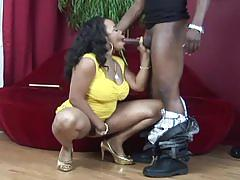 Black babe down to serve a hard cock