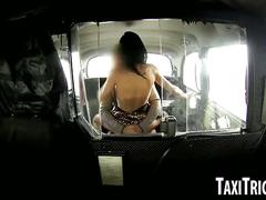 Brunette babe sucks and fucks her horny taxi driver