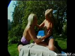 Two sexy blondes enjoy some outdoors sex