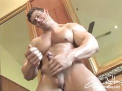 Zeb atlas fervently jerks off his cock