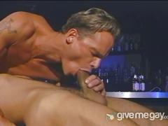 Drunk hunks in lewd bar fucking