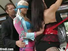 Rocco has anal threesome with hot babes tied up
