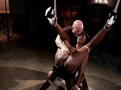 Submissive ebony babe anna fucked in tight bondage