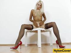 Blonde gemma in nylon pantyhose riding big dildo.