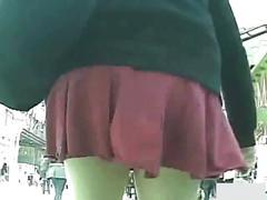 Japanese schoolgirls panties exposed outdoor