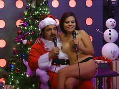 blonde, slim, playboy, santa, babes, christmas, brunette, naked, radio show, morning show, playboy tv