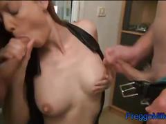 Squirting my breast milk on two cocks in a threesome