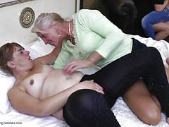 Three old women fucks a young lesbo