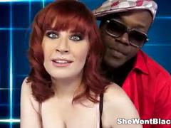 Teen redhead double penetrated by black cocks