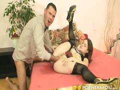 Sexy babe sucks and rides that huge big cock.